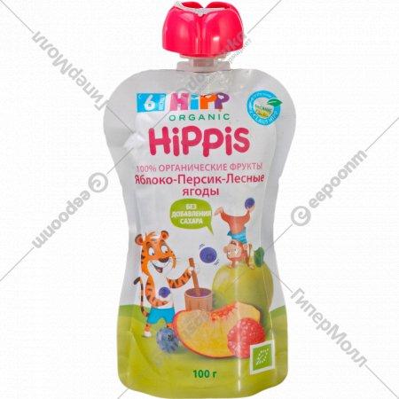Пюре «Hippis» яблока, персик и лесные ягоды 100 г.