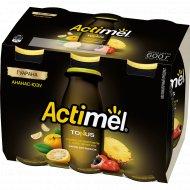 Продукт кисломолочный «Актимель» ананас, юзу и гуарана, 2.5%, 6х100 г.