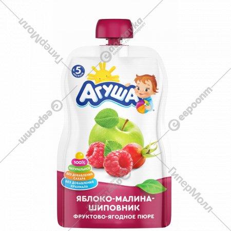 Пюре «Агуша» из яблока, малины и шиповника, 90 г.