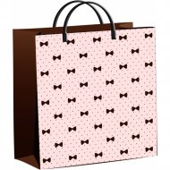 Мешок с пластиковыми ручками «Бантики на розовом» 30х30 см