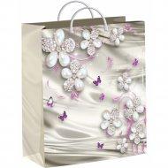 Мешок с пластиковыми ручками «Жемчужные цветочки» 26х24 см.