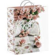 Мешок с пластиковыми ручками «Кремовые розы» 40х30 см.