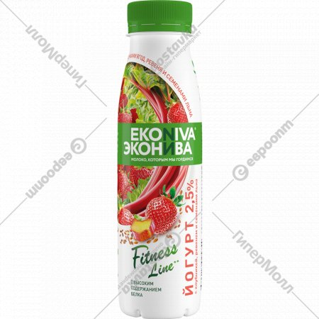Йогурт питьевой «Fitness Line» клубника-ревень с семенами льна, 2,5%, 300 г