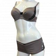 Комплект белья «NBB» 4340, коричнево-фиолетовый.