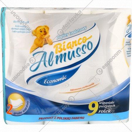 Туалетная бумага «Almusso» Bianco, 2-слойная, 9 рулонов.