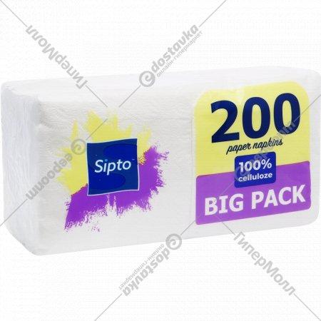 Салфетки бумажные «Sipto Big Pack» белые, 200 шт.