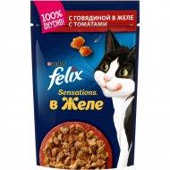 Корм для кошек «Felix» с говядиной в желе с томатами, 85 г.