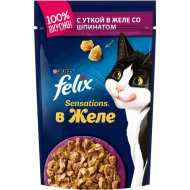 Корм для кошек «Felix Sensations» желе, утка, шпинат 85 г.