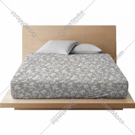 Простыня на резинке «Ночь Нежна» Нежный силуэт, 20x90x200, серая.