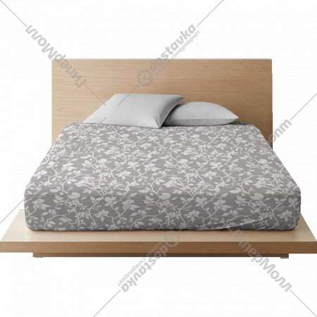 Простыня на резинке «Ночь Нежна» Нежный силуэт осн, 20x180x200, серая.