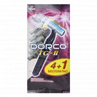 Бритва одноразовая DORCO TG-711 станок (4+1 в Подарок), 2 лезвия.