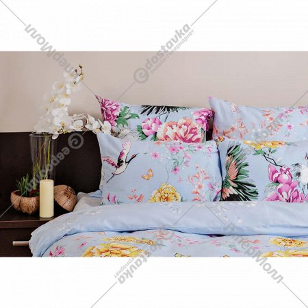 Комплект постельного белья «Ночь Нежна» Журавли, 2 сп. евро 50х70.