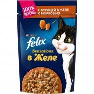 Корм для кошек «Felix Sensations» с курицей в желе с морковью, 85 г.