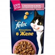 Корм для кошек «Felix Sensations» с лососем в желе с треской, 85 г.
