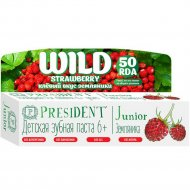 Зубная паста «President Junior» со вкусом земляники без фтора, 50 мл.