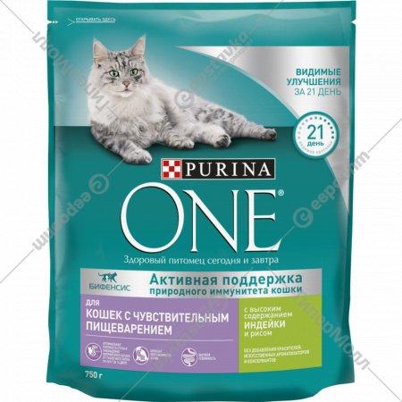 Корм сухой для кошек «Purina One» с индейкой и рисом, 750 г.