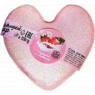 Соль для ванн «Клубника со сливками» бурлящий шар сердечко, 120 г.