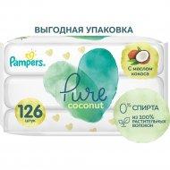 Салфетки влажные детские «Pampers» Pure Coconut, 3х42 шт