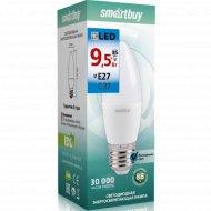 Светодиодная лампа «Smartbuy» C37-9,5W 6000 E27, холодный белый свет.