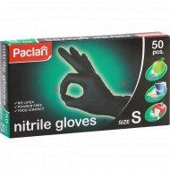 Перчатки нитриловые «Paclan» размер S, black 50 шт.