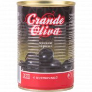 Оливки чёрные «Grande Oliva» с косточкой, 390 г.