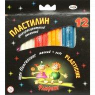 Пластилин восковой флуоресцентный «Флюрики» 12 цветов со стеком.