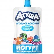 Йогурт фруктовый «Агуша» с малиной, черникой и ежевикой, 2.6%, 85 г.