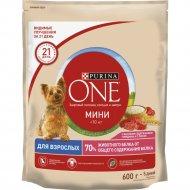 Корм для собак мелких пород «Purina One» Мини, говядина и рис, 600 г
