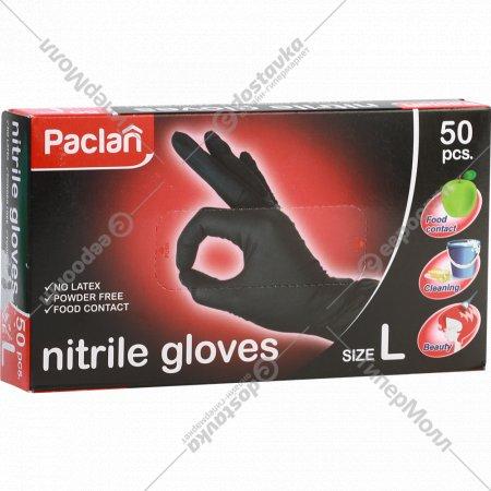 Перчатки нитриловые «Paclan» размер L, black 50 шт.