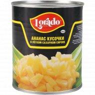 Ананасы «Lorado» кусочки в легком сахарном сиропе, 850 мл.