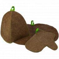 Банный набор «Главбаня» шапка+коврик+рукавица.