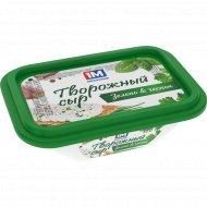 Сыр творожный «1М» зелень и чеснок, 65%, 120 г