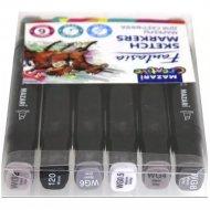 Набор маркеров для скетчинга «Fantasia» Warm grey 6 цветов.