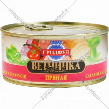 Консервы фаршевые мясные «Гродфуд» пряная, 290 г.
