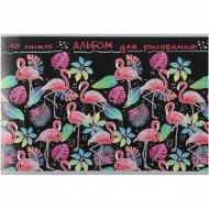 Альбом для рисования «Фламинго и листья на черном».