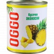 Ананасы «Oggo» кусочки в легком сиропе, 830 г.