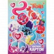 Картон цветной «Тролли» 8 листов, 8 цветов