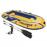 Надувная трёхместная лодка «Intex» Challenger-3 Set, 295x137х43 см.