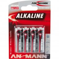 Элементы питания «Ansmann» Alkaline-red-1.5V-AA-bl4.