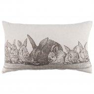 Подушка декоративная «Семья кроликов» на молниии, 35х60 см.