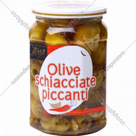 Оливки зеленые крупные «Citres» в масле, с чили перцем, 520 г.