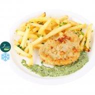 Шницель из свинины со шпинатным соусом и картофелем J.Cafe Bistro 80/170/15 г.