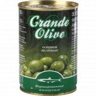 Оливки зелёные «Grande Oliva» фаршированные анчоусом, 280 г.