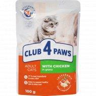 Корм для кошек «Club 4 paws» с курицей в соусе, 100 г