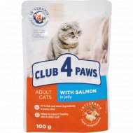 Корм для кошек «Club 4 paws» с лососем в желе, 100 г.
