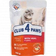 Корм для кошек «Club 4 paws» с телятиной в овощном соусе, 100 г
