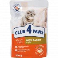 Корм для кошек «Club 4 paws» с кроликом в желе, 100 г.