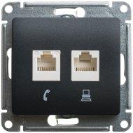 Розетка компьютерная «Schneider Electric» Glossa, GSL000785KK, черный