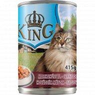Консервированный корм для котов «King» с говядиной, 415 г.