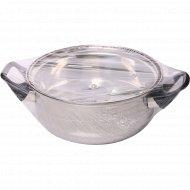 Кастрюля из нержавеющей стали со стеклянной крышкой, объем: 2 л.
